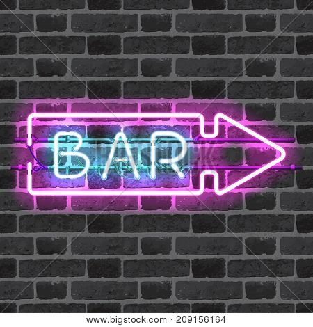 Glowing neon bar sign with direction arrow isolated on brick wall background. Shining and glowing neon effect. All elements are separate units with wires, tubes, brackets and holders.