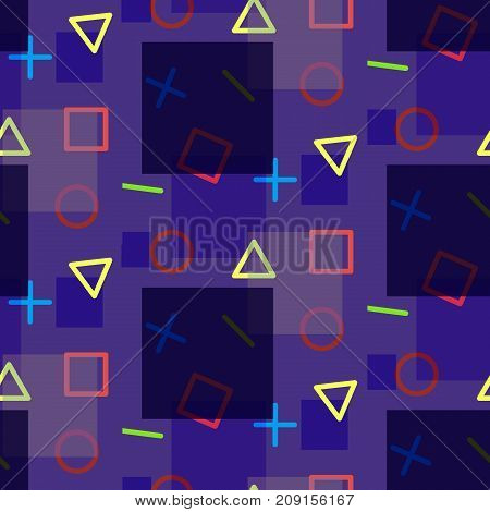 Night seamless pattern in memphis style with geometric shapes. Bright fashion contrast texture for textile wrapping paper cover background surface packaging