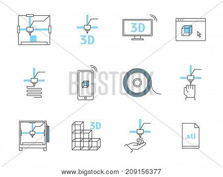 3D Printing Thin Line Icons Set for Web and App Include of Cube, Process, Monitor. Vector illustration of Print Signs