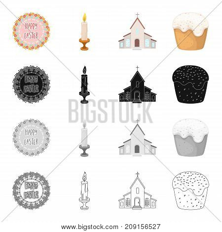 Signboard with happy Easter, burning candle, church. Easter cake set collection icons in cartoon black monochrome outline style vector symbol stock isometric illustration .