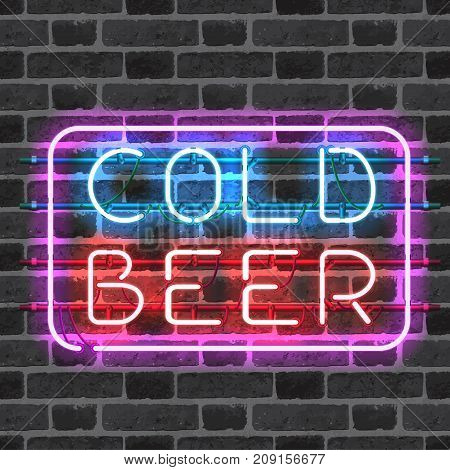 Glowing neon bar sign COLD BEER isolated on brick wall background. Shining and glowing neon effect. All elements are separate units with wires, tubes, brackets and holders.