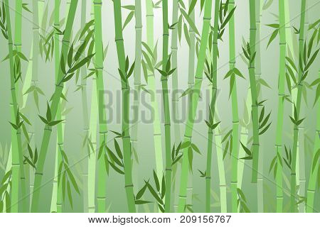 Cartoon Bamboo Forest Green Silhouette Landscape Background Flat Design Nature Scene Adventure Travel. Vector illustration of Asian Tree