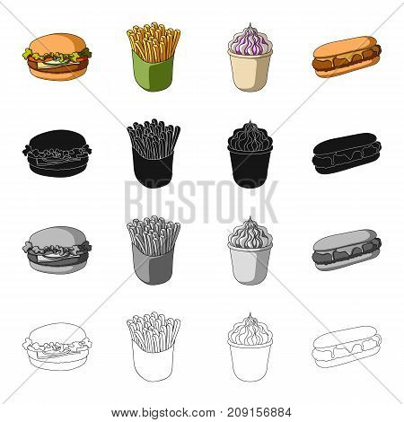 Cheeseburger, bun, flour and other  icon in cartoon style.Cafe, fast , food icons in set collection.