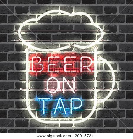Glowing neon bar sign BEER ON TAP on brick background. Shining and glowing neon effect. All elements are separate units with wires, tubes, brackets and holders.