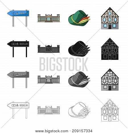 Germany, construction, travel, and other  icon in cartoon style. Berlin, palace, administration icons in set collection