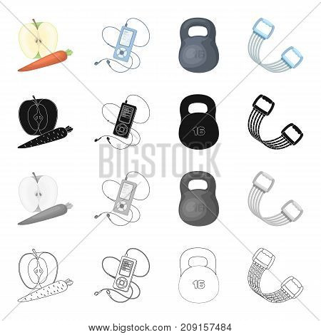 Weight training, apple and carrot, music player, expander. Training and gym set collection icons in cartoon black monochrome outline style vector symbol stock isometric illustration .