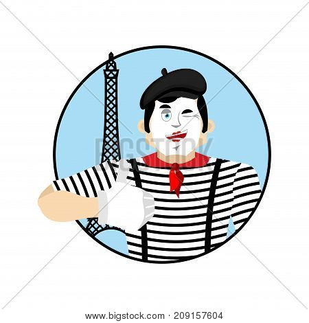 Mime Winks And Thumb Up. Happy Pantomime. Merry Mimic. Vector Illustration