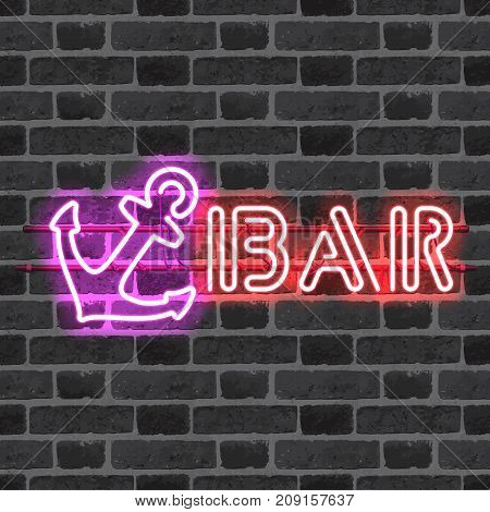 Glowing neon bar sign with purple anchor on brick wall background. Shining and glowing neon effect. All elements are separate units with wires, tubes, brackets and holders.