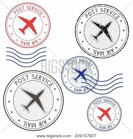 Post service airmail colored postmarks with plane sign. Vector illustration isolated on white background