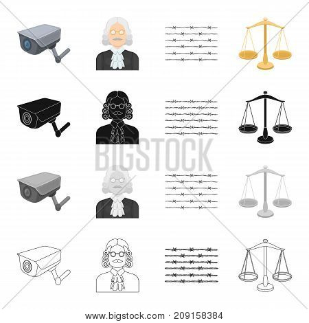 Barbed wire in prison, video surveillance, judge s appearance, scales of justice. Prison set collection icons in cartoon black monochrome outline style vector symbol stock isometric illustration .