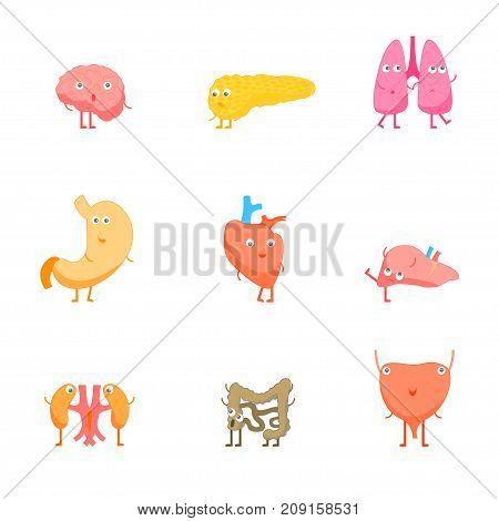 Cartoon Internal Organs Funny Emotions Set Medical Health Care Concept Flat Design Style. Vector illustration of Organ Emotion