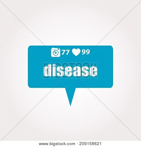 Disease Text. Business Concept . Labels With Text, Heart, Camera And Counters