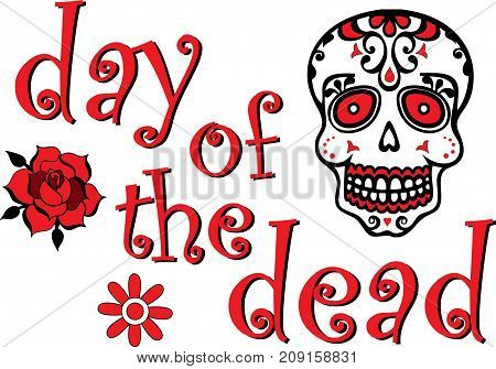 Red Day of the Dead Graphic with Skull