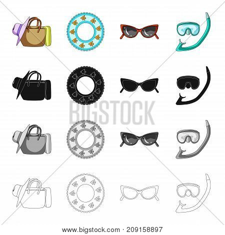 Things for relaxation, swimming circle, sunglasses, snorkel and mask. Summer rest set collection icons in cartoon black monochrome outline style vector symbol stock isometric illustration .