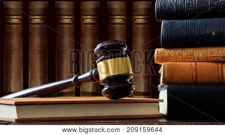 Judge Gavel On A Book, Law Books Background, Wooden Desk