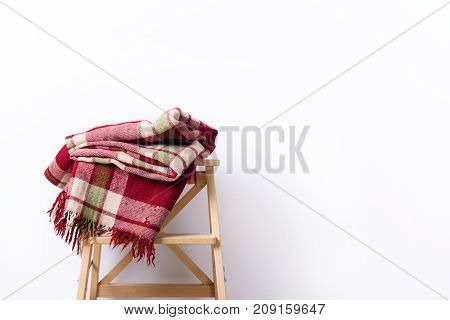 Colorful Tartan Plaid Woolen Textile Wooden Stool