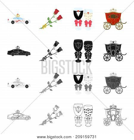 Wedding car, rose flowers, groom and bride decorations, retro coach. Wedding set collection icons in cartoon black monochrome outline style vector symbol stock isometric illustration .