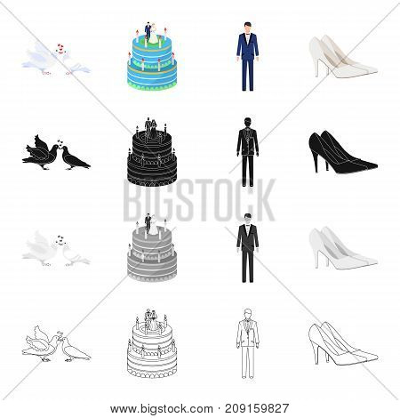 Pigeons, wedding cake, groom, bride s shoes. Wedding set collection icons in cartoon black monochrome outline style vector symbol stock isometric illustration .