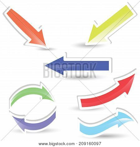 colorful arrows set isolated on white background