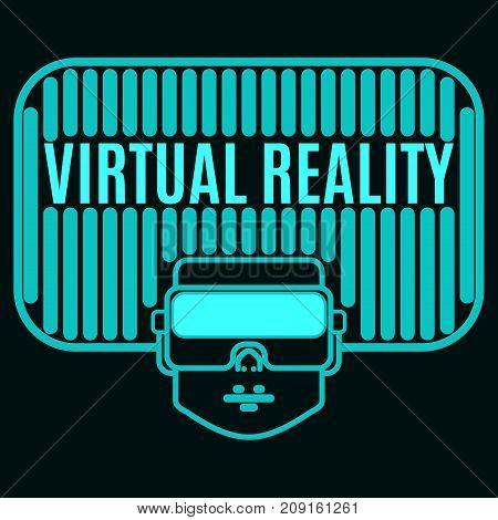 bright acid green luminous logo helmet virtual reality on a black background