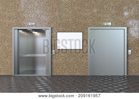 Empty Elevator Cabin With Open And Closed Doors