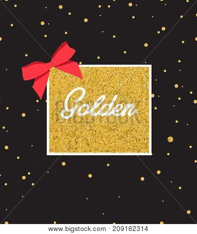Abstract black background with sparkles and gold label in center.