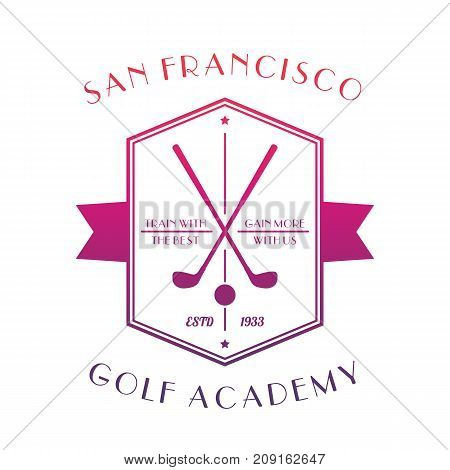 Golf Academy logo, emblem with clubs isolated over white, vector illustration