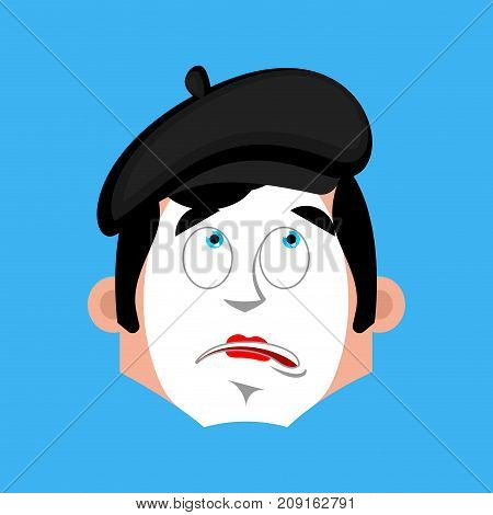 Mime Bewildered Emotion Avatar. Pantomime At A Loss Emoji. Mimic Icon. Vector Illustration