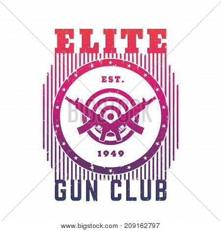 Gun club emblem with automatic guns and target, t-shirt print over white