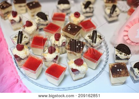 Assortment of pastries and desserts. Concept birthday party party wedding catering.