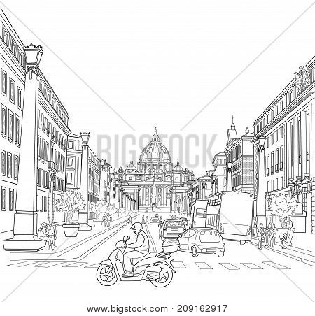 Picture of the street of Rome with a view of St. Peter's Basilica