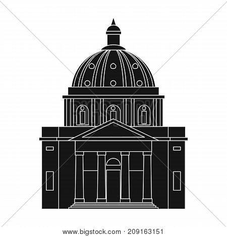 Building, single icon in black style.Building, vector symbol stock illustration .