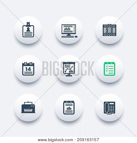 office icons set, documents, reports, folders, schedule, calendar, fax, printer, vector illustration