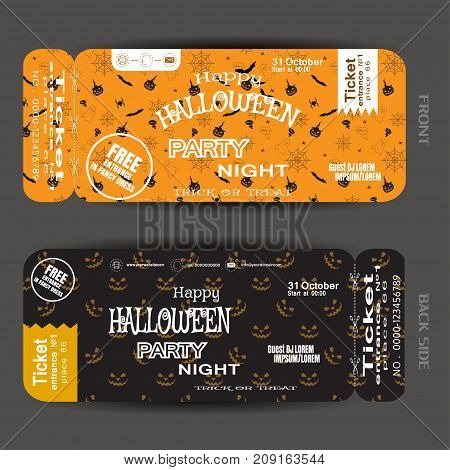 Vector ticket to Happy Halloween night party with white text on the yellow and brown background with pattern.