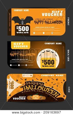 Vector gift voucher with case set to Happy Halloween holiday with text on the yellow and brown background with pattern.