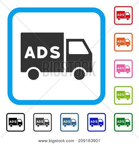 Advertisement Van icon. Flat gray iconic symbol in a light blue rounded rectangular frame. Black, gray, green, blue, red, orange color versions of Advertisement Van vector.