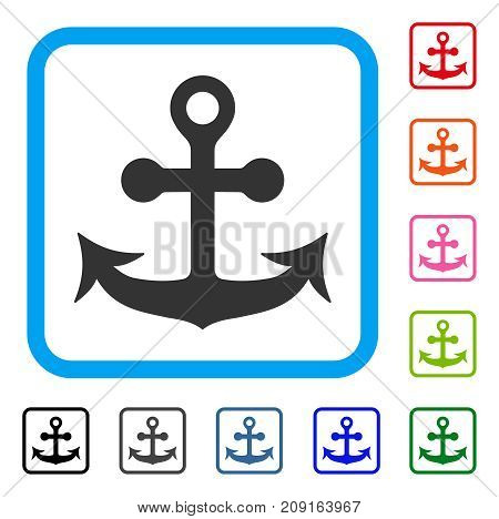 Anchor icon. Flat grey iconic symbol in a light blue rounded square. Black, gray, green, blue, red, orange color additional versions of Anchor vector. Designed for web and app user interface.