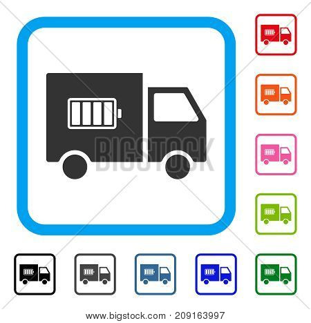 Battery Delivery Truck icon. Flat gray pictogram symbol inside a light blue rounded rectangle. Black, gray, green, blue, red, orange color additional versions of Battery Delivery Truck vector.