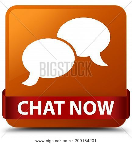 Chat Now Brown Square Button Red Ribbon In Middle