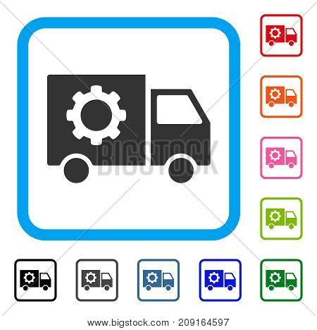 Gear Tools Delivery Car icon. Flat grey pictogram symbol in a light blue rounded square. Black, gray, green, blue, red, orange color variants of Gear Tools Delivery Car vector.