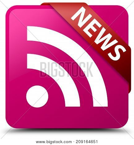 News (rss Icon) Pink Square Button Red Ribbon In Corner