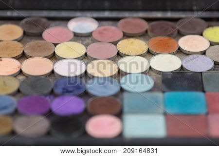 A palette of shadows for make-up of eyelids. View from above. The concept of make-up, beauty. Close-up.