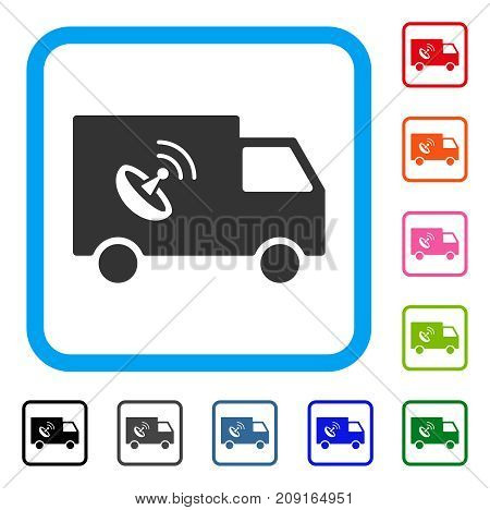 Remote Control Van icon. Flat gray pictogram symbol in a light blue rounded frame. Black, gray, green, blue, red, orange color versions of Remote Control Van vector.