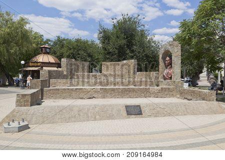 Evpatoria, Republic of Crimea, - July 21, 2017: Suvorovsky redoubt on the quay named after Tereshkova in the city of Evpatoria