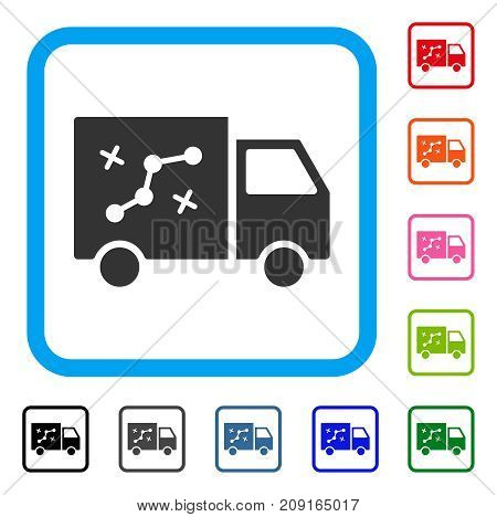 Route Van icon. Flat gray iconic symbol inside a light blue rounded rectangular frame. Black, gray, green, blue, red, orange color additional versions of Route Van vector.