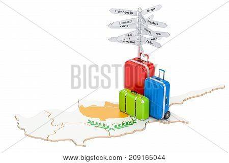 Cyprus travel concept. Map with suitcases and signpost 3D rendering