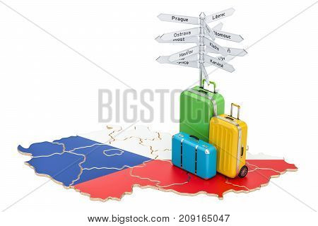 Czech Republic travel concept. Map with suitcases and signpost 3D rendering