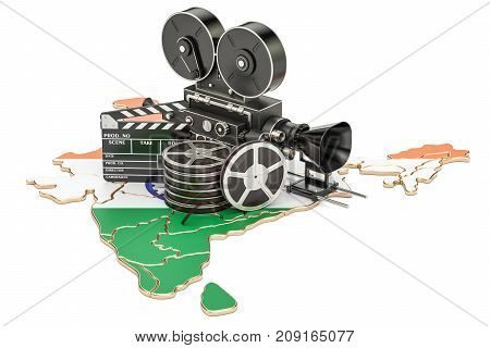 Indian cinematography film industry concept. 3D rendering isolated on white background