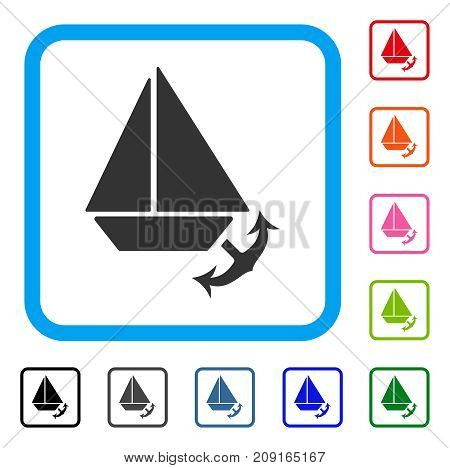 Seaport icon. Flat gray iconic symbol inside a light blue rounded square. Black, gray, green, blue, red, orange color variants of Seaport vector. Designed for web and app UI.
