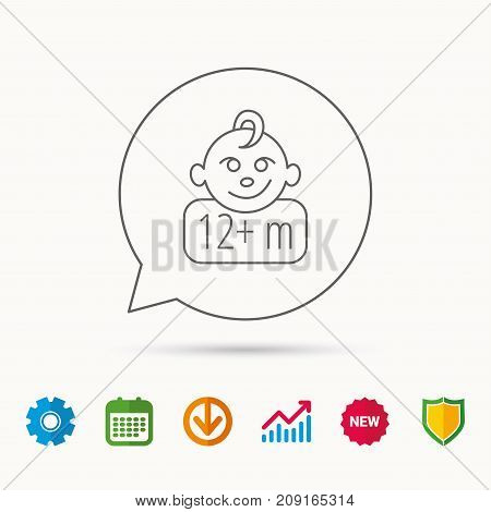 Baby Face Icon. Newborn Child Sign. Use Of Twelve Months And Plus Symbol. Calendar, Graph Chart And